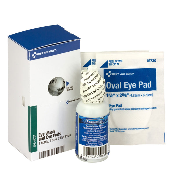 SmartCompliance Refill Eye Wash & Eye Pads, 1 Bottle, 1 Oz. & 2 Eye Pads Per Box - BS-FAK-FAE-6021-1-FM