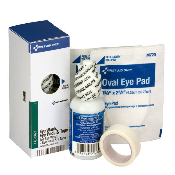 SmartCompliance Refill Eye Wash, Eye Pads & Tape, 1 Bottle, 1 Oz., 2 Eye Pads & 1 Tape Per Box - BS-FAK-FAE-6022-1-FM