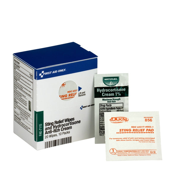 SmartCompliance Refill 20 Sting Relief Wipes & 10 Hydrocortisone Cream Packets Per Box - BS-FAK-FAE-7115-1-FM