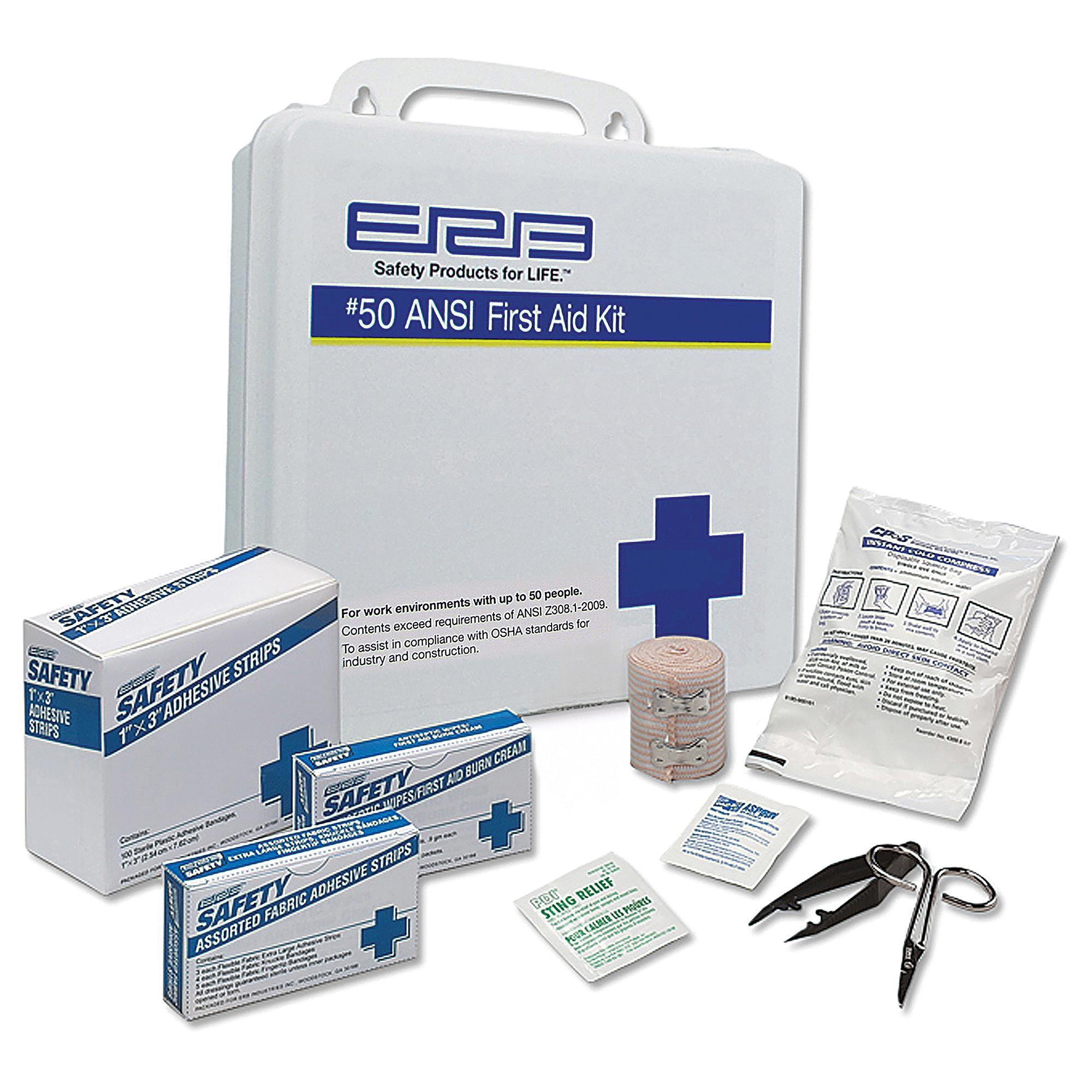 50 Piece First Aid Kit with Plastic Box 1EACH