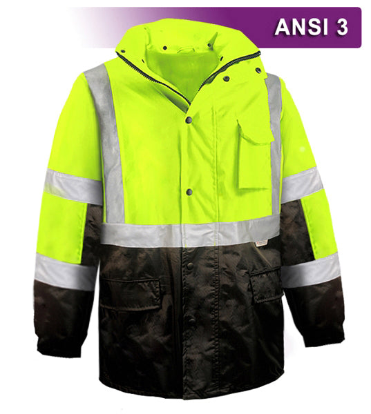 Brite Safety Style 5030 Hi Vis Parka Jacket: Breathable Waterproof Hooded: 2-Tone Lime, with 3M Reflective Tape, ANSI 107 Class 3 Compliant