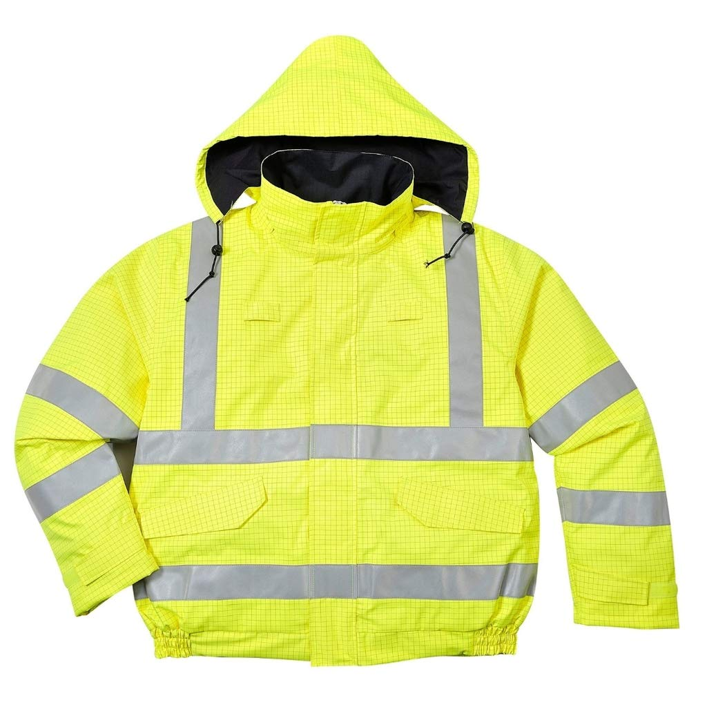 Brite Safety BizFlame Hi Vis Rain Jacket Anti-Static FR Bomber Jackets - Fire Resistant Clothing for Men and Women