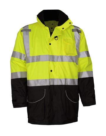 Brite Safety 7-IN-1 3M Scotchlite Waterproof All Seasons Jacket | Hi Viz Safety Jackets for Work | ANSI 107 Class 3 Compliant