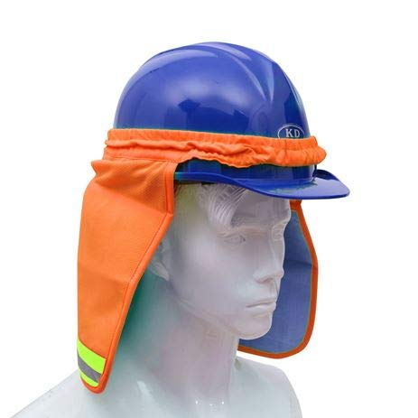 Brite Safety Hard Hat Birdseye Neck Shade with PVA Cooling - Adaptable on All Helmets and Hard Hats (Orange)