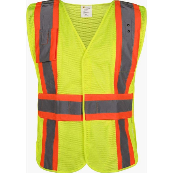 Brite Safety High Visibility 5 Point Break Away Flame Resistant Safety Vest - ANSI 2 Compliant FR Treated Fabric Non ARC Rated Adjustable Vests with Front Zipper Closure