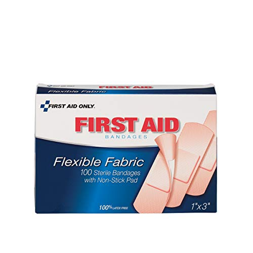 "1""x3"" Fabric Bandages, 100/box - Emergency Kit Trauma Kit First Aid Cabinet Refill"