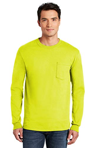 Brite Safety 100% Cotton Long Sleeve T-Shirt with Pocket - Shirts for Men - Plain Outdoor Apparel