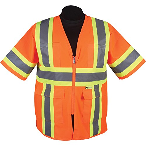 Safety Vest: Hi Vis Vest: Zip Contrasting Tape: ANSI Class 3 Compliant (Extra Large, Hi-Vis Yelllow)