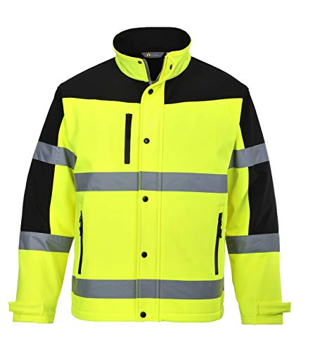 Two Tone Softshell Jacket for Men and Women - Safety Outdoor Clothing for Winter - Ansi Class 3, High Visibility (2XL, Hi Vis Yellow/Black)