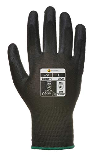 PU Palm Gloves - Work Glove for Men and Women (Small, Black, 12 Pairs)