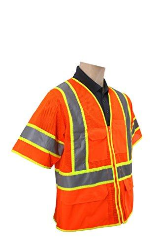 Brite Safety Style 1315 Hi Vis Safety Vest, Short Sleeve, Zipper Closure, Polyester Mesh, 6-pocket, ANSI 107 Class 3 Compliant