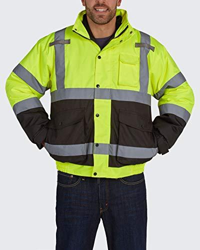 Brite Safety All Weather Bomber Jacket - High Visibility ANSI 11 Waterproof Safety Jackets with Zip Out Micro Fleece Liner