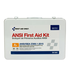 75 Person 36 Unit First Aid Kit, ANSI A+ Compliant, Metal Weatherproof Case, Type III - BS-FAK-90701-1-FM