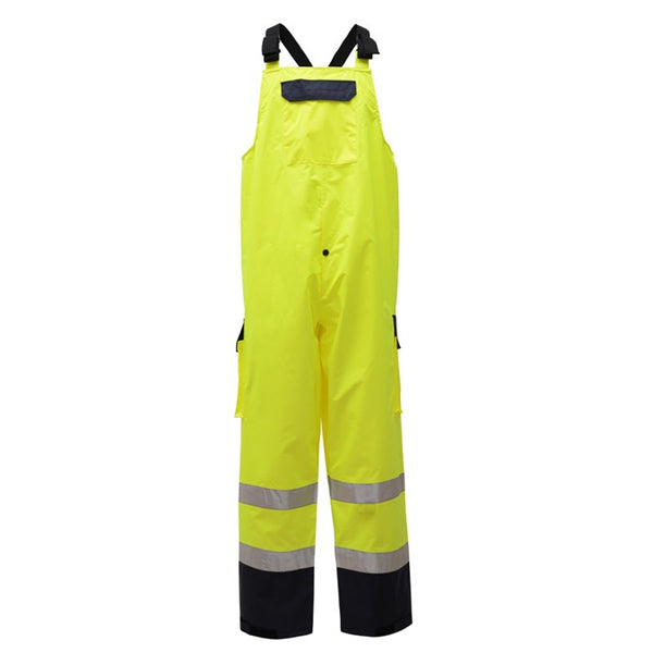 Class E Premium Hi Vis Waterproof Bib with 2 Side Pockets and 1 Cargo Pocket