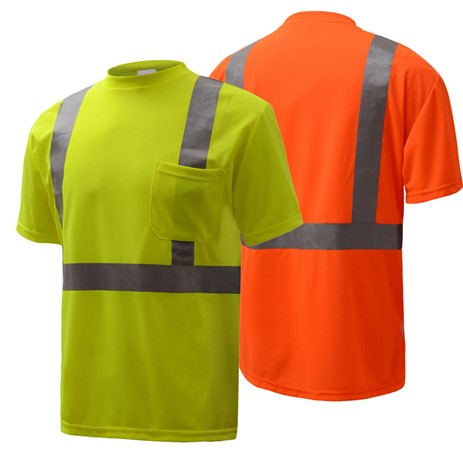 Short Sleeve Safety T-Shirt | Hi Vis Safety T Shirts | Moisture Wicking | Polyester Mesh with Chest Pocket | ANSI Class 2 Compliant | Men or Women