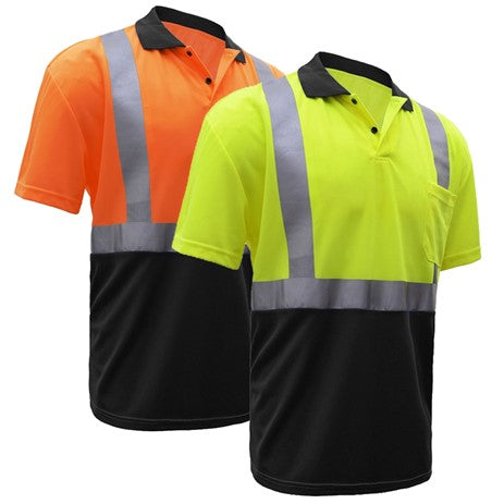 Safety Polo Shirt | Hi Vis Polo Shirts with Reflective Tape | Moisture Wicking | ANSI Class 2 Compliant | for Men or Women