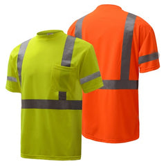Short Sleeve Safety T-Shirt | Hi Vis Safety T Shirts | Moisture Wicking Polyester Mesh with Chest Pocket | ANSI Class 3 Compliant | Men or Women