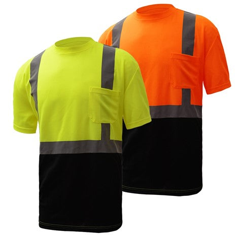 Safety T-Shirt | Hi Vis Safety T-Shirts | Moisture Wicking | T Shirt with Black Bottom | ANSI Class 2 Compliant | Men or Women