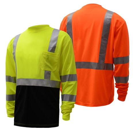 Long Sleeve T-Shirt | Hi Vis T Shirts | Moisture Wicking | Polyester Mesh | T-Shirts with Black Bottom | ANSI Class 3 Compliant | Men or Women