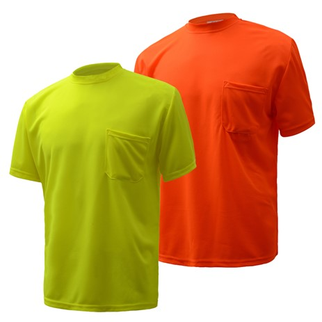 Short Sleeve Safety T-Shirt | Hi Vis Safety T Shirts | Moisture Wicking | Polyester Mesh with Chest Pocket | Men or Women