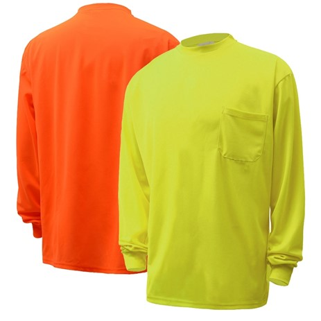 Long Sleeve Safety T-Shirt | Hi Vis Safety T Shirts | Moisture Wicking | Polyester Mesh with Chest Pocket | Men or Women