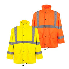 Class 3 Hi Vis Rain Jacket with Zipper and 2 Patch Pockets