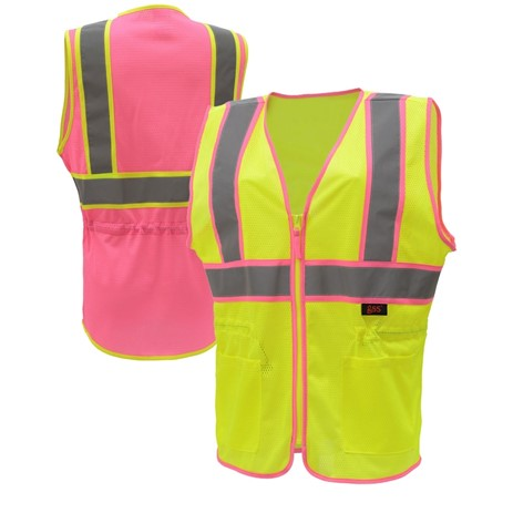 Womens Safety Vest | Ladies Two-Tone Hi Vis Vests | Polyester Mesh | with Pockets and Zipper Closure | ANSI 107 Class 2 Compliant