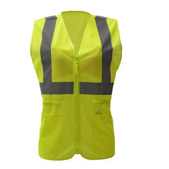 Ladies Safety Vest with Pockets| Lady Hi Vis Vests | Polyester Mesh | Zipper Closure | ANSI 107 Class 2 Compliant For Women