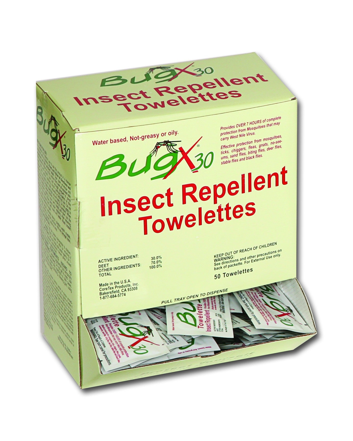BugX30 Insect Repellent Wipes DEET, 50 Per Box - BS-FAK-18-750-1-FM