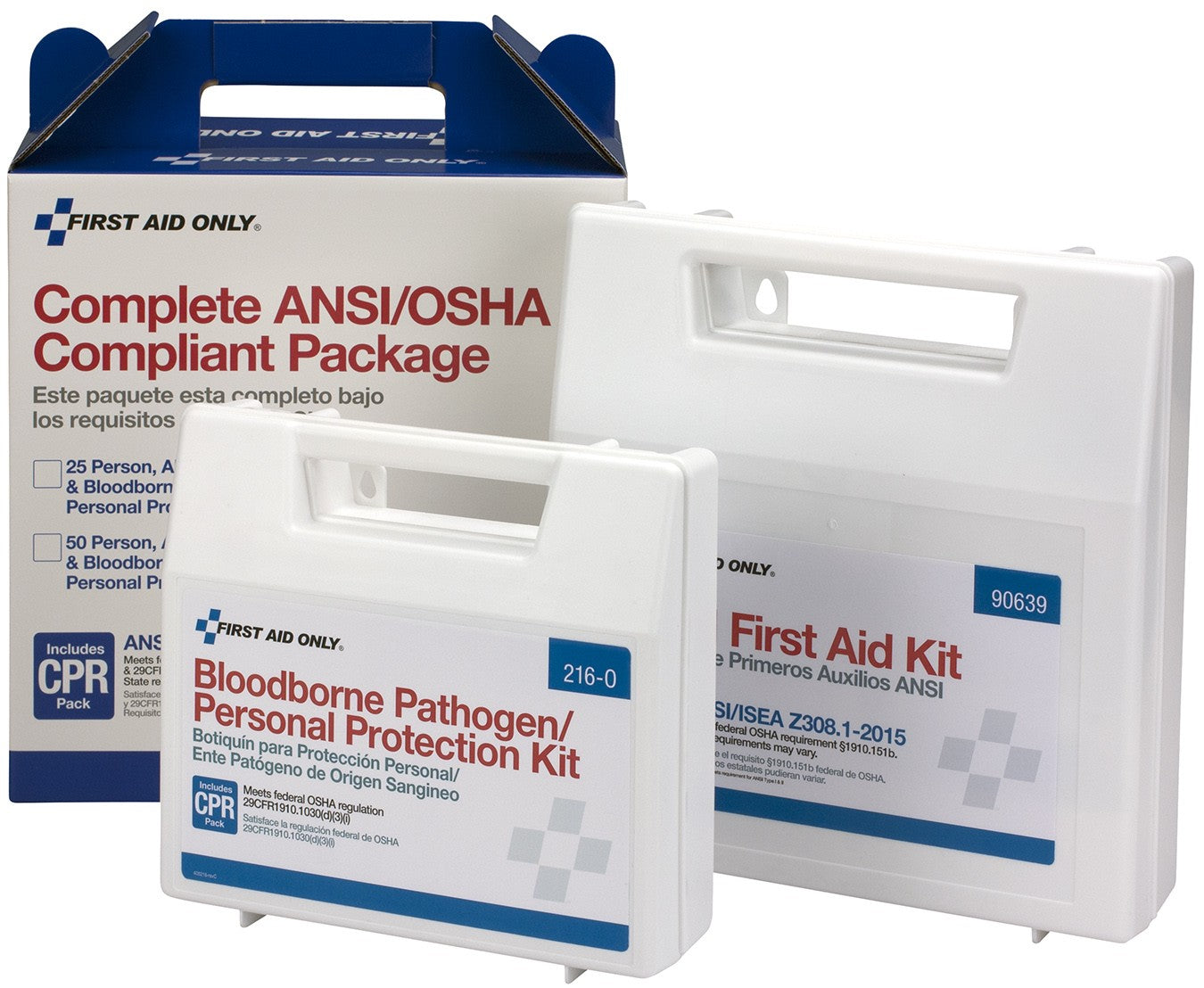 50 Person Complete ANSI/OSHA Compliance Package For First Aid And BBP, Blood Borne Pathogens - BS-FAK-90765-1-FM