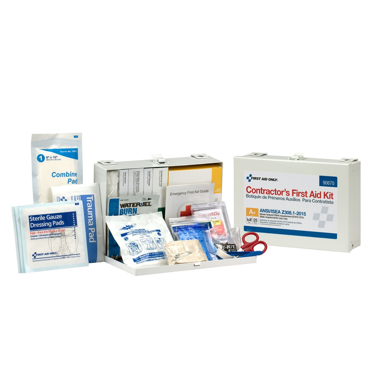 25 Person Contractor ANSI A+ First Aid Kit, Metal Case, Class I & II - BS-FAK-90670-1-FM
