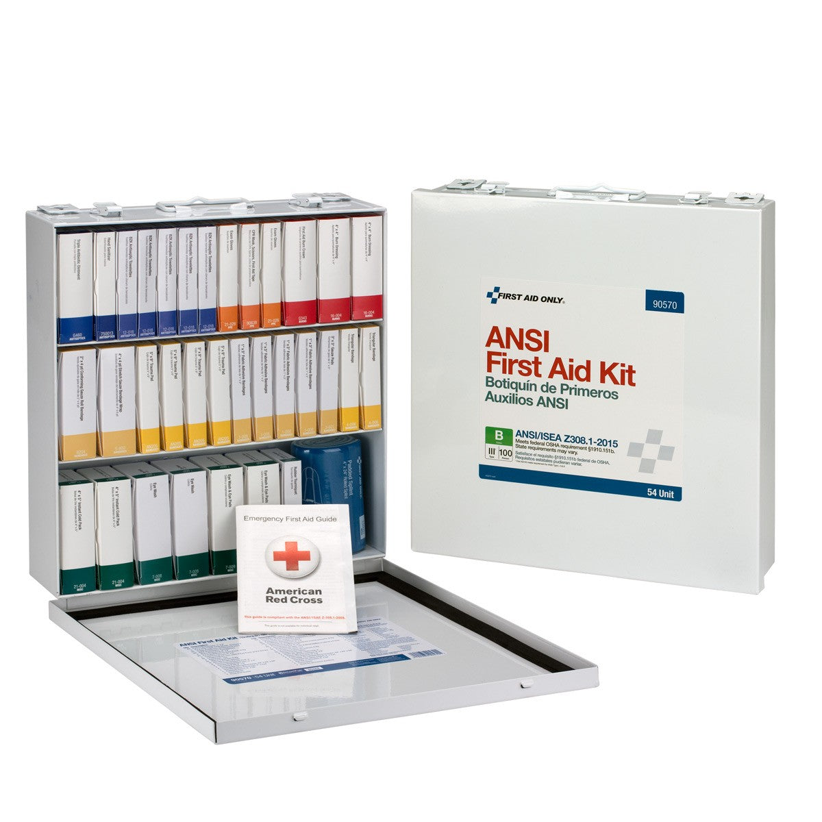 100 Person 54 Unit First Aid Kit, ANSI B, Weatherproof Steel Case, Type III - BS-FAK-90570-1-FM