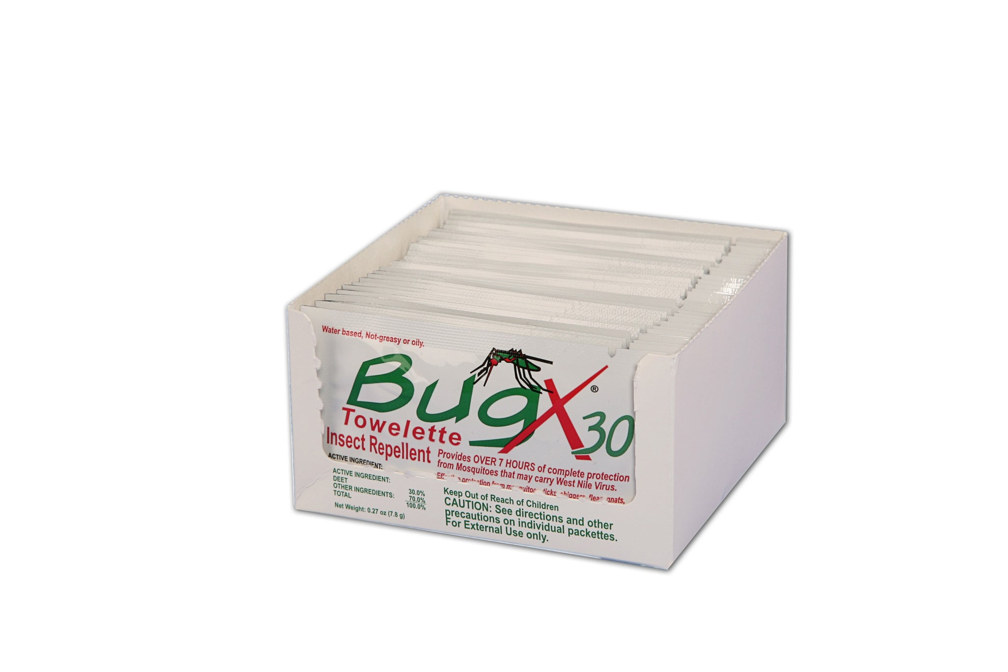 BugX30 Insect Repellent Wipes DEET, 25 Per Box - BS-FAK-18-725-1-FM