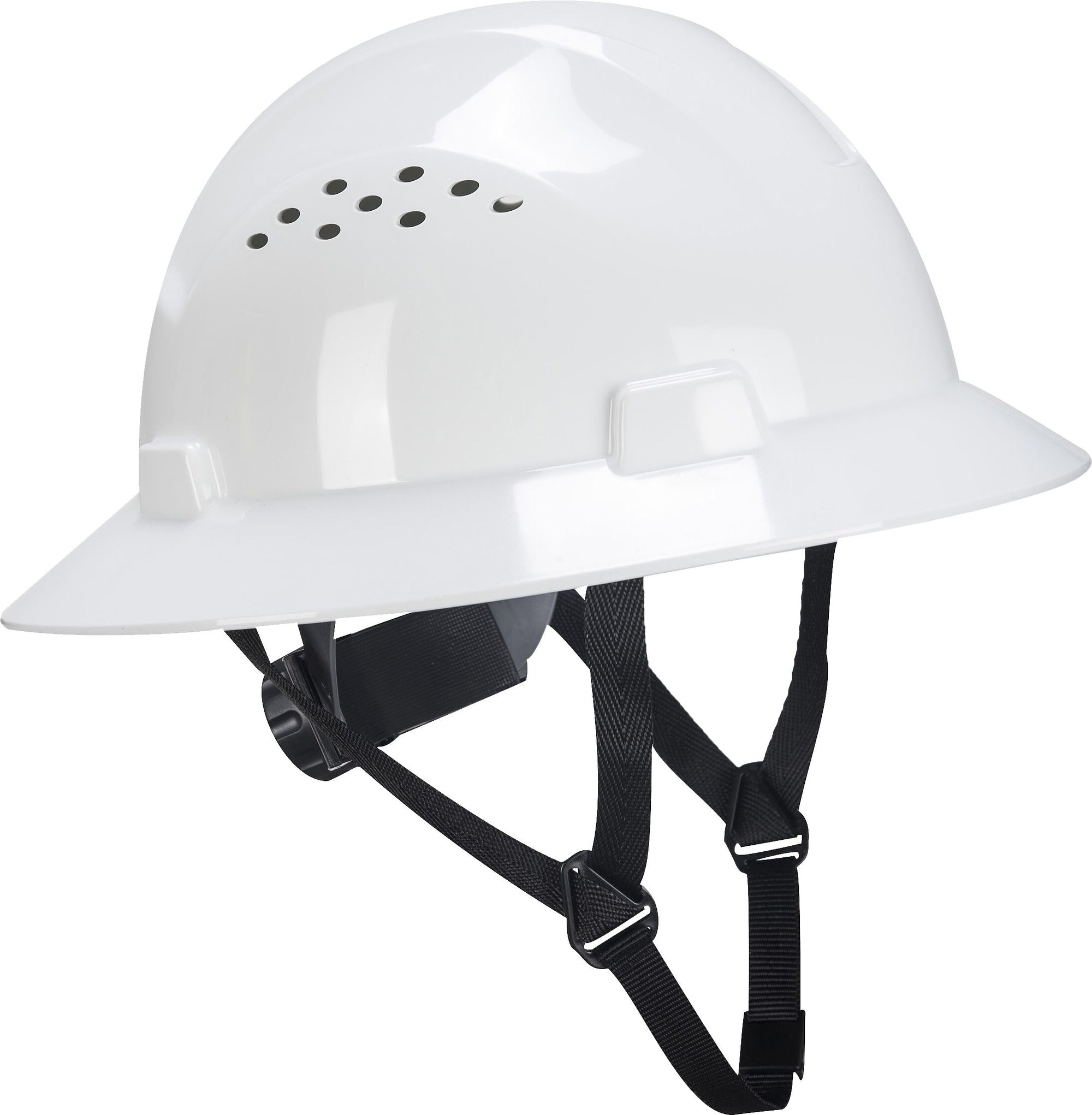 Brite Safety Full Brim Hard Hat - 4 Points Textile Harness Wheel Ratchet Vented Hard Hats Construction Helmet