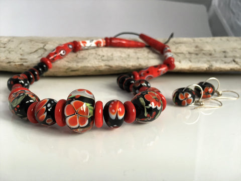 Absolutely unique russian style necklace with handmade murano glass beads
