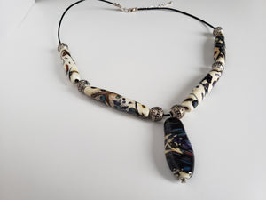 Gorgeous necklace with handmade one of a kind beads
