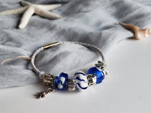 Fresh blue colored bracelet Pandora style with handmade murano glass beads.