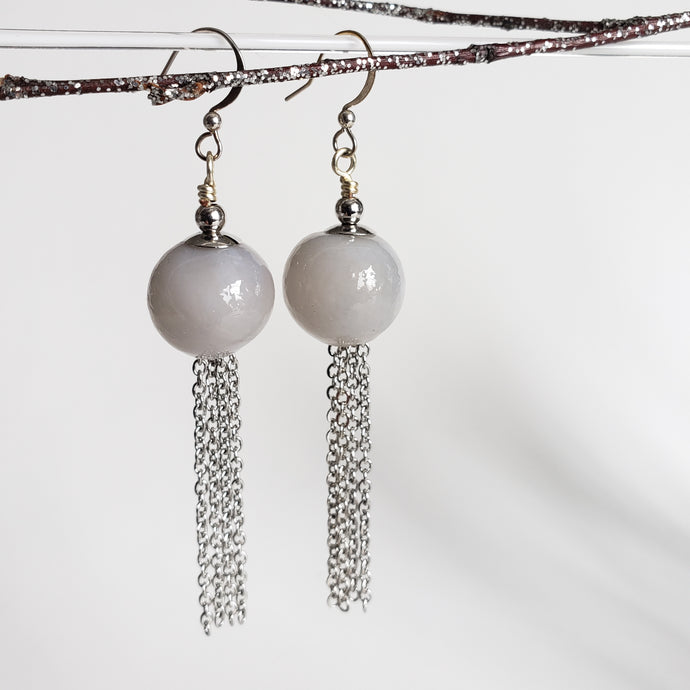 Modern hollow glass and chain tassel earrings