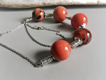Coral murano glass necklace, hollow glass beads, large round hollow beads