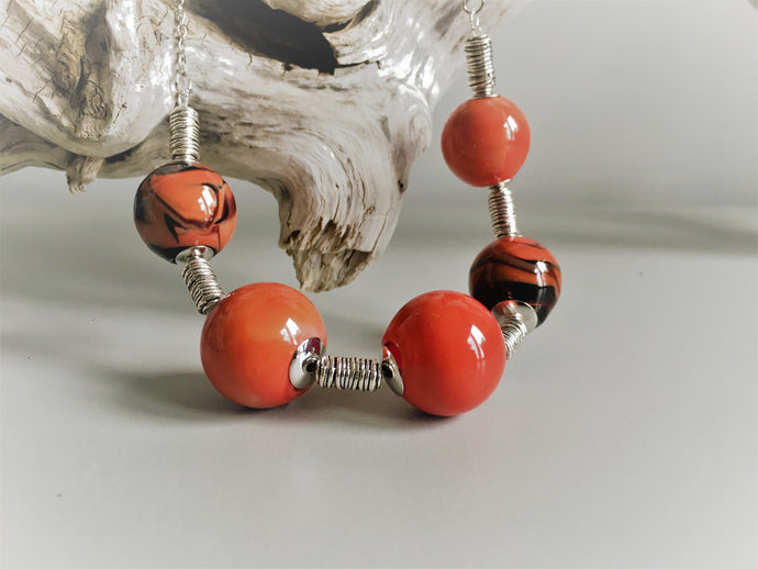 Coral glass beads, hand blown glass beads, Murano glass artisan made jewelry