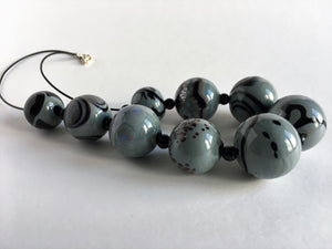 Large hollow glass beads necklace
