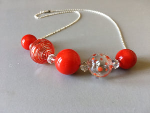 hollow glass beads, handmade beads necklace, hand blown glass, red hollow glass beads