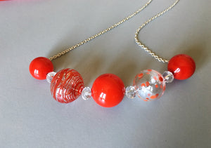 bright necklace, polka dots style jewelry, artisan made necklace