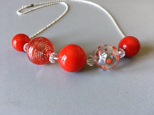 Red hand blown glass beads necklace, artisan made gift, holiday gift