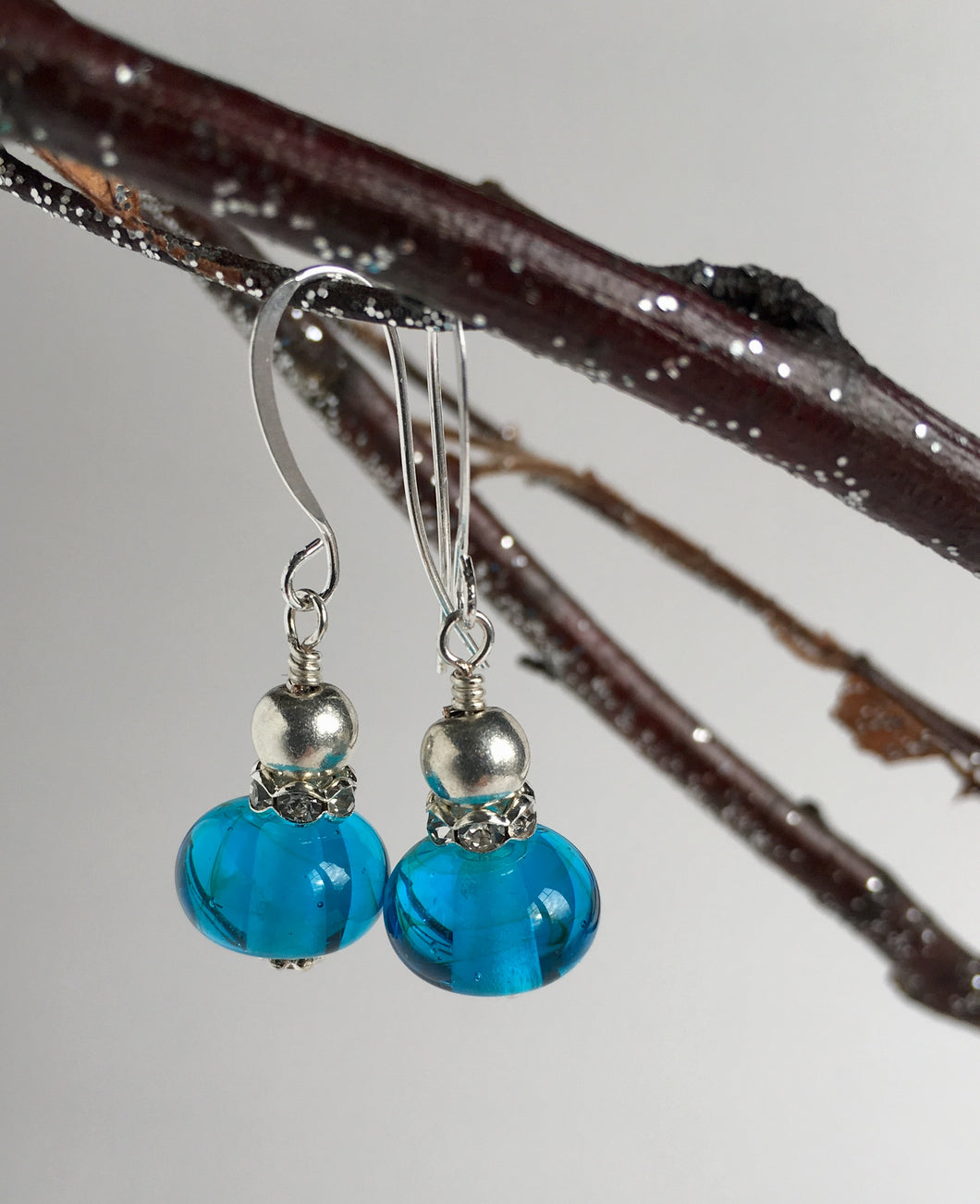 Lampworked glass earrings. Venetian glass earrings.