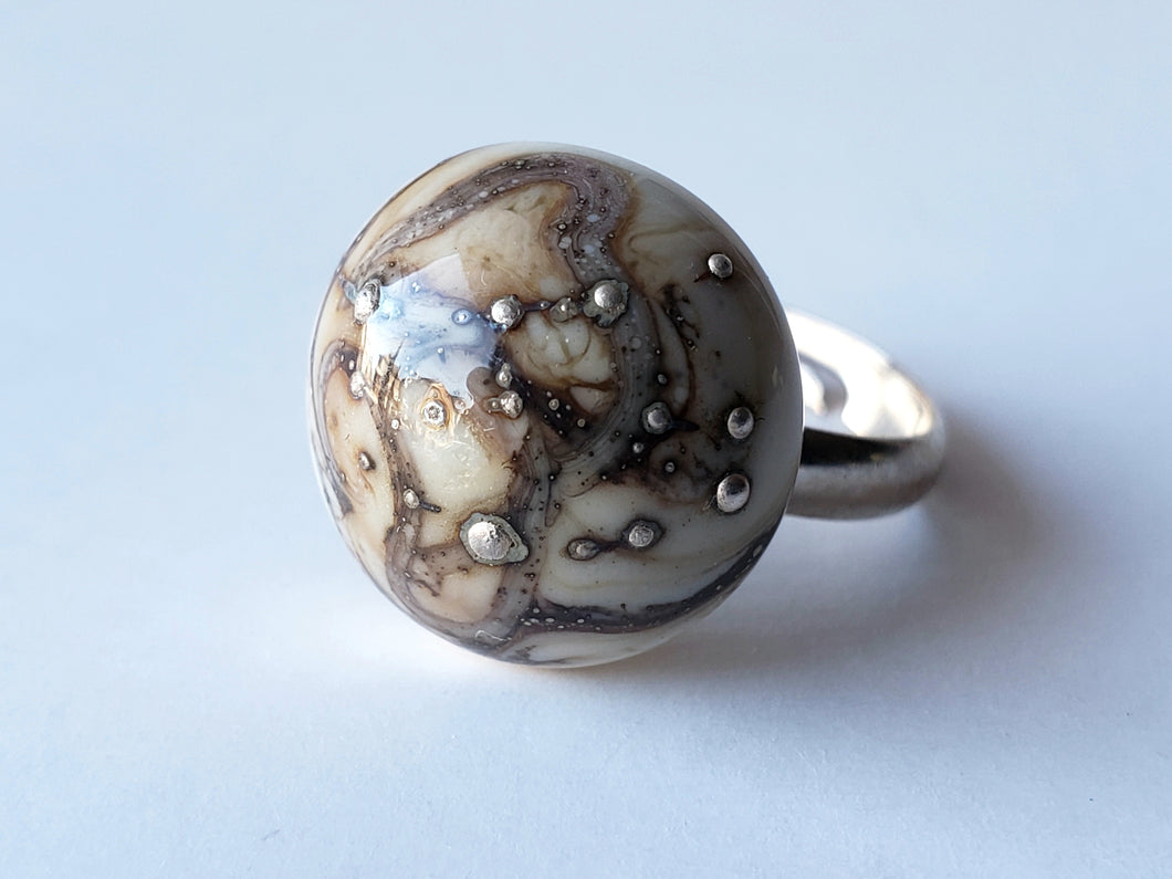 Ivory with silver murano glass ring