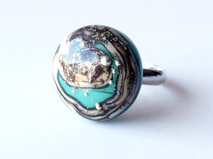 Modern jewelry, glass made ring in turquoise