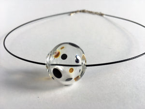 Polka dot clear glass hollow round bead pendant