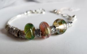 Pandora style bracelet with handmade glass beads