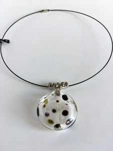 Polka dot clear glass hollow flat bead pendant